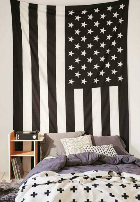 black white american flag wall hang on storenvy. Black Bedroom Furniture Sets. Home Design Ideas
