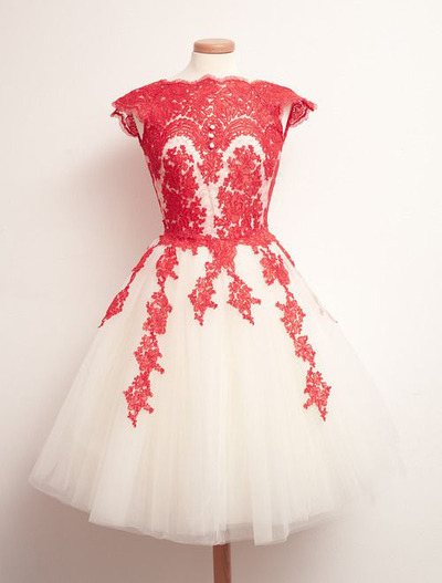 Newest Elegant Lace Short Homecoming Dresses,Beautiful Creamy White ...
