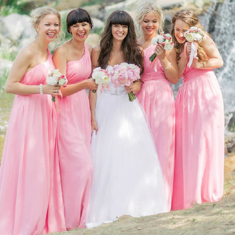 Hot Pink One Shoulder Bridesmaid Dress with Ruching Detail, Long ...