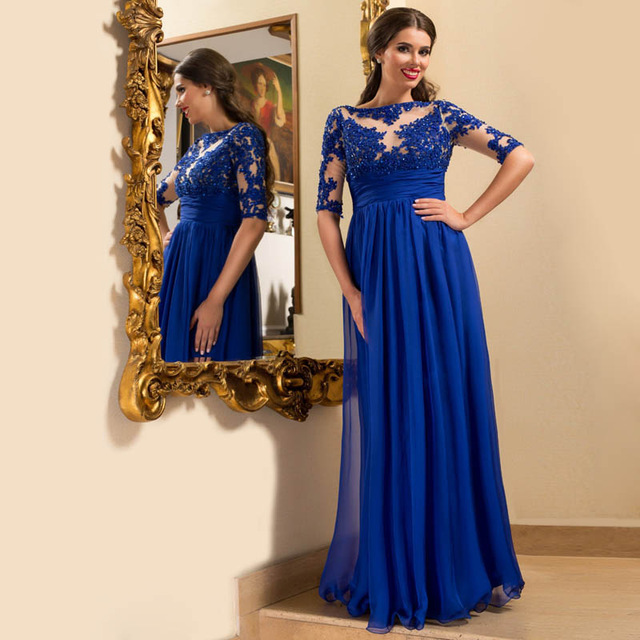 Royal Blue Long Sleeve Prom Dress, Lace Floor-length Prom Dresses ...