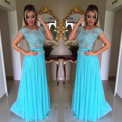 sky blue long prom dresses