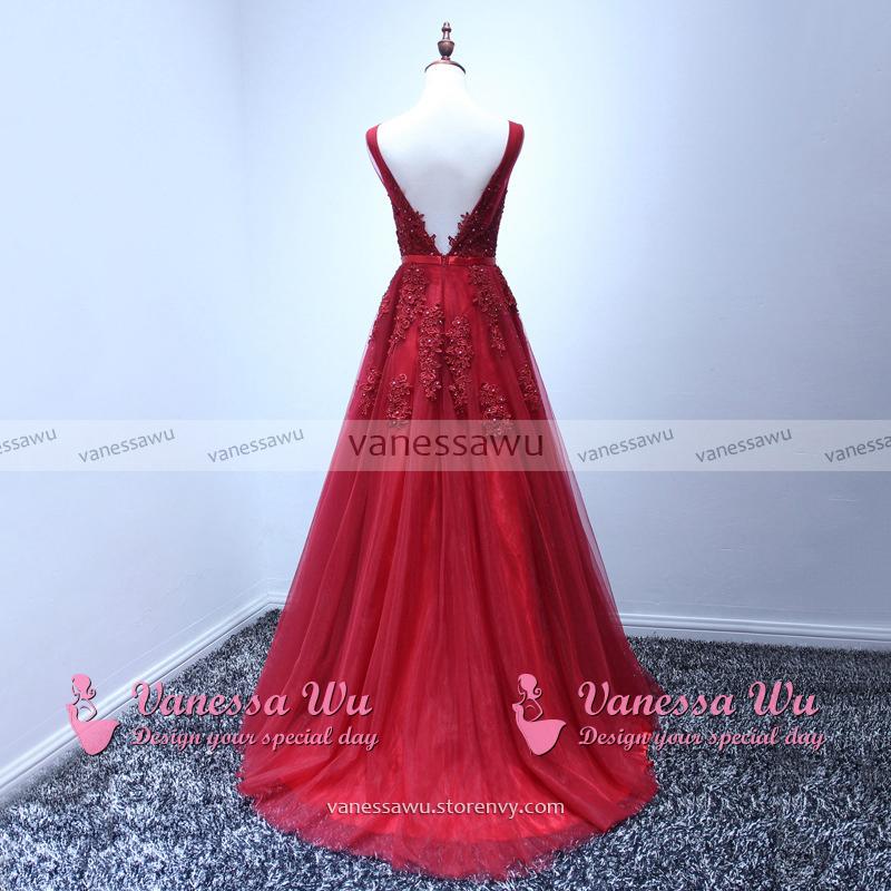 Hot Burgundy Prom Dresses Princess V Neck Prom Dresses Sexy