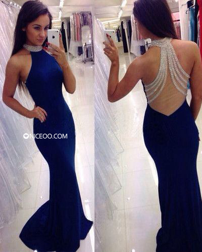 Royal blue Round Neck Sweep Train Chiffon prom dresses with Beaded