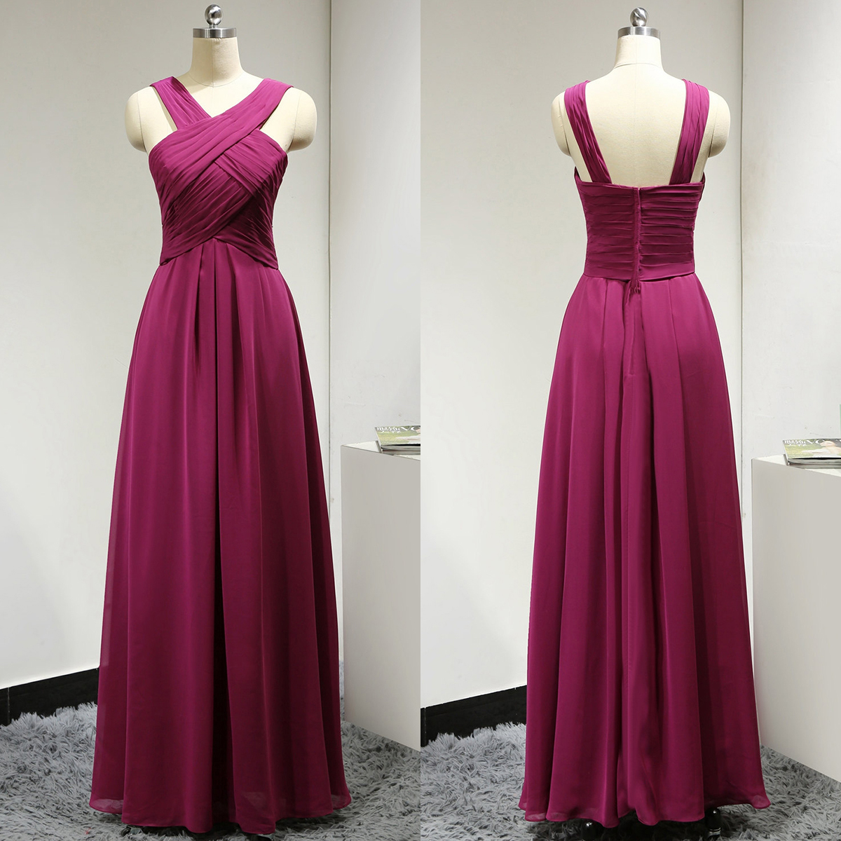 Halter A line Bridesmaid Dress with Ruching Detail V neck