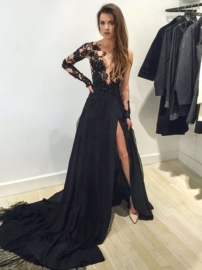 Sexy Black Prom Dresses Cheap Prom Dress With Alluring Front Split