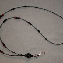Beaded Lanyard Black/Grey/Red