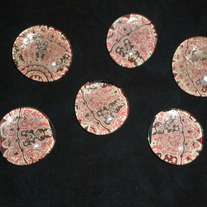 Magnet Set - Pink and Brown Damask