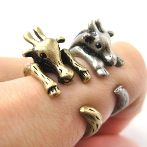 Realistic Giraffe Animal Wrap Ring in Brass Sizes 4 to 9 Available