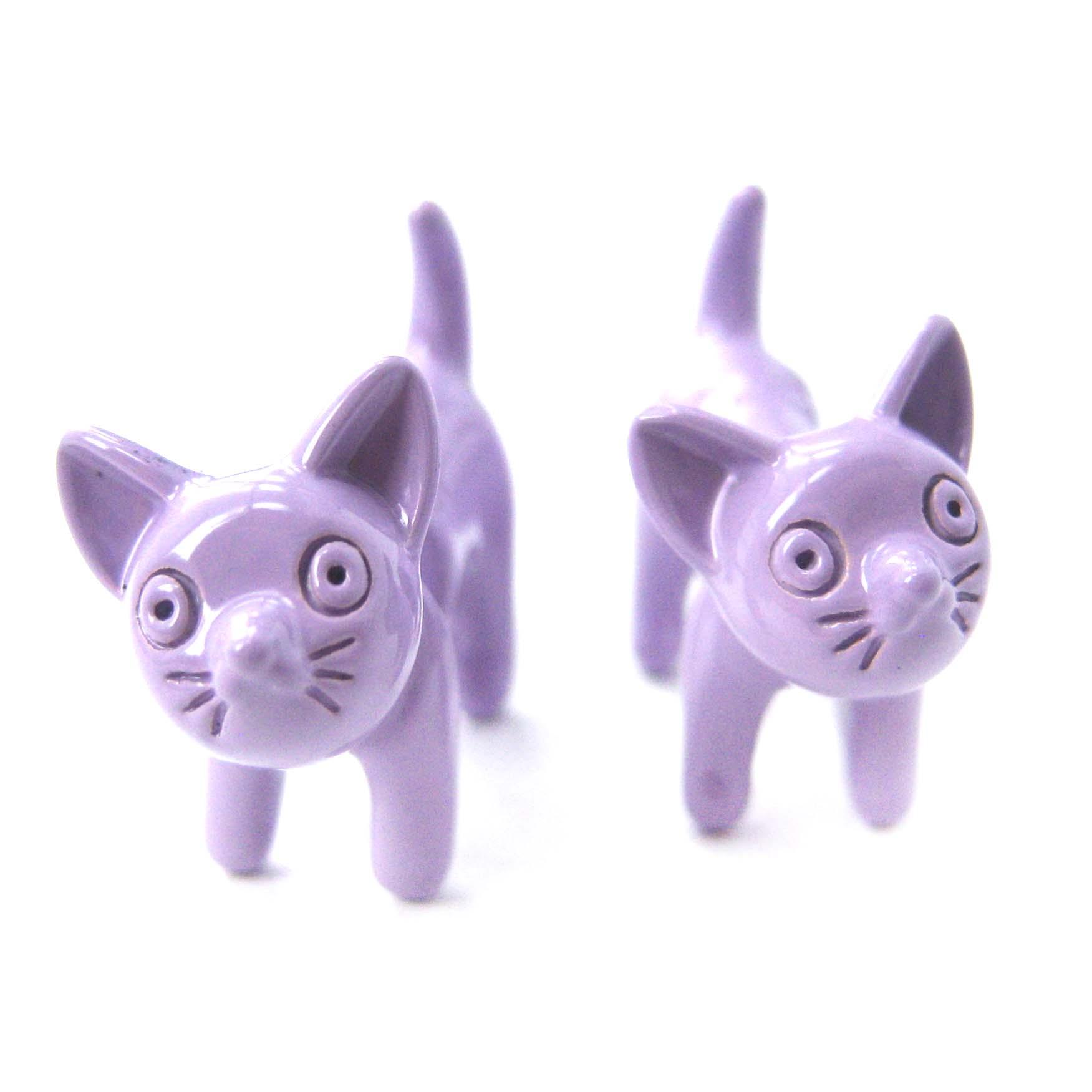 Adorable Fake Gauge Earrings Kitty Cat Animal Stud Earrings In Light Purple