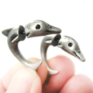 Fake Gauge Earrings Dolphin Animal Stud Earrings in Silver