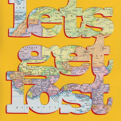 Let's get lost poster - atlas - yellow and red