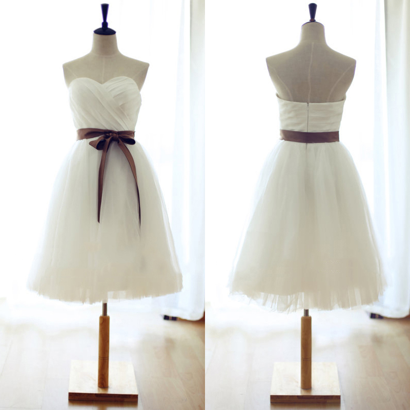 Sweetheart White Bridesmaid Dress, Short Bridesmaid Gowns with ...
