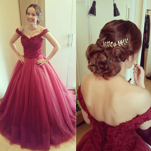 Burgundy Ball Gowns, Off the shoulder Prom Dress with Lace ...