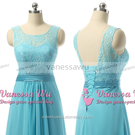 Affordable Illusion Bridesmaid Dresses, A-line Blue Chiffon ...