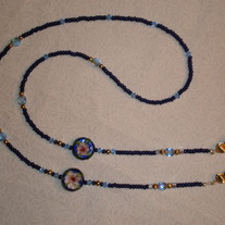 Beaded Eyeglass Chain Blue/Gold/Cloisonne (Spec. Order)