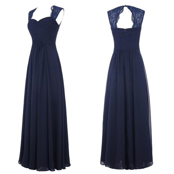 Navy Blue Chiffon Long Bridesmaid Dresses with Lace, Navy Blue ...
