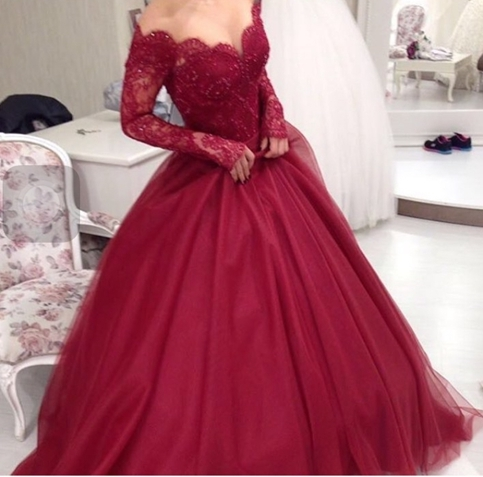 Lace long sleeve prom dress