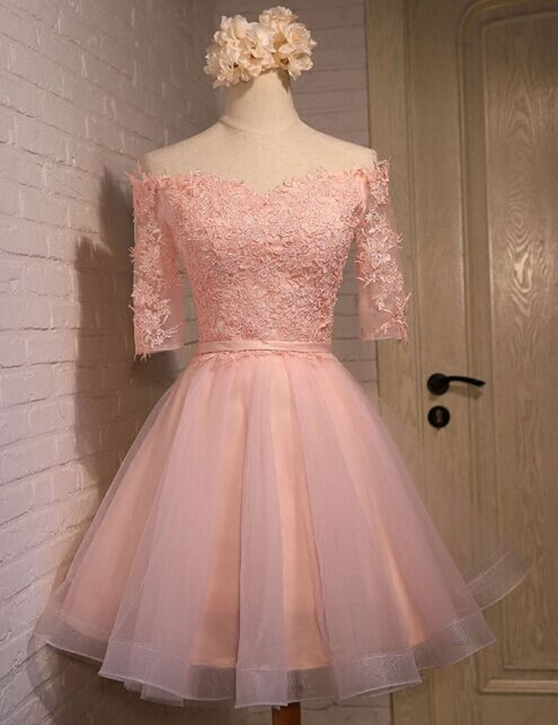 Long sleeve lace Homecoming dresses, Pink Homecoming dresses, 2016 ...