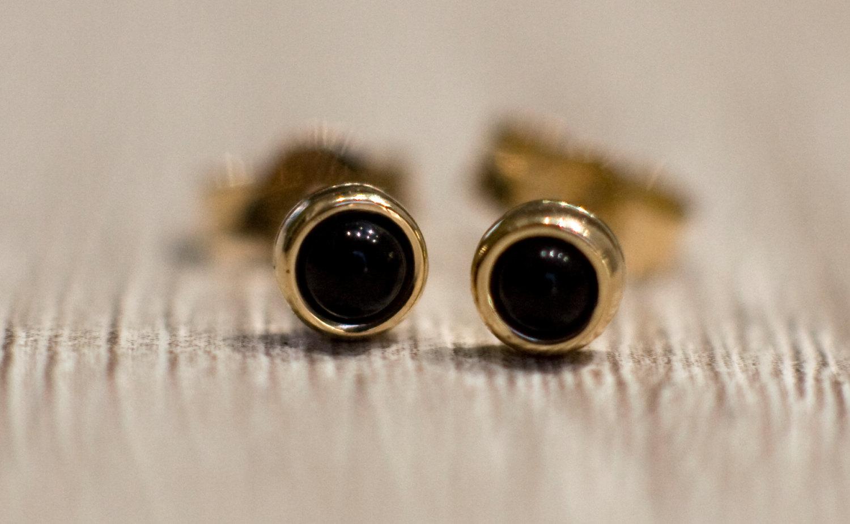 Black Onyx Stud Earrings In 14k Yellow Gold, Solid 14k Gold Jewelry, Black  Gemstone