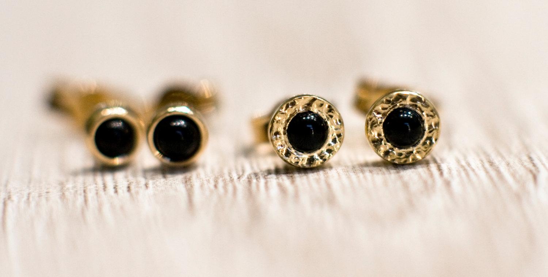 Black onyx stud earrings in 14k yellow gold, solid 14k gold ...