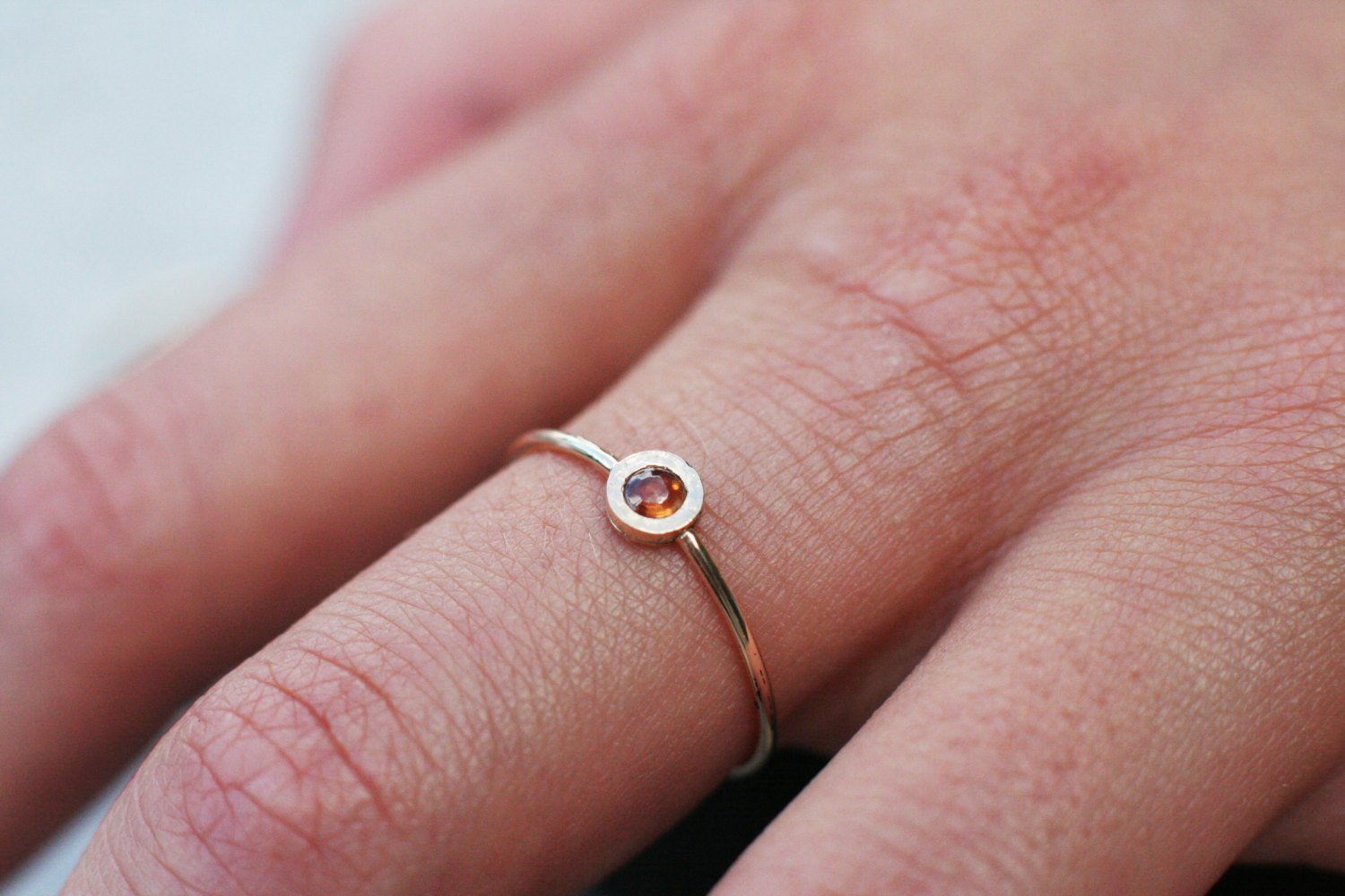 Orange sapphire ring in 14k gold, September birthstone, tiny gold ...