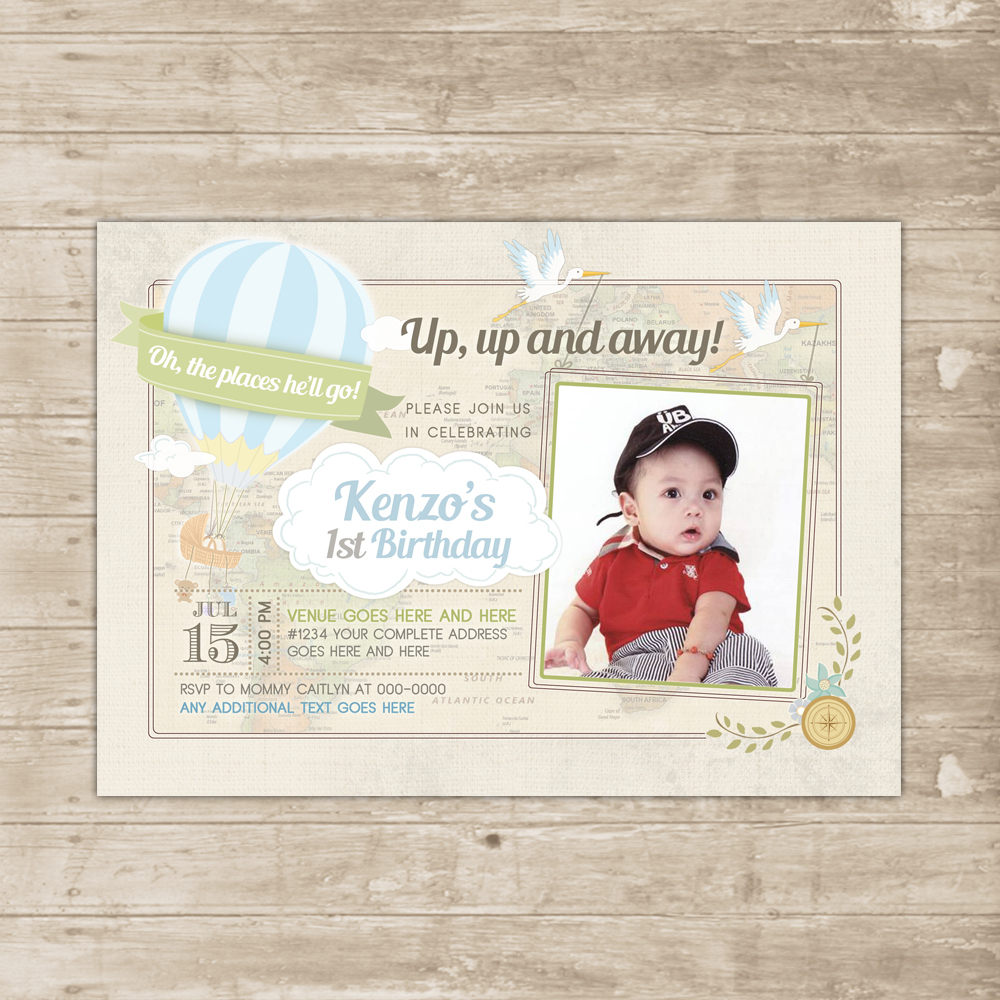 Hot Air Balloon Invitation Oh Baby the Places You\'ll Go Invite boy ...