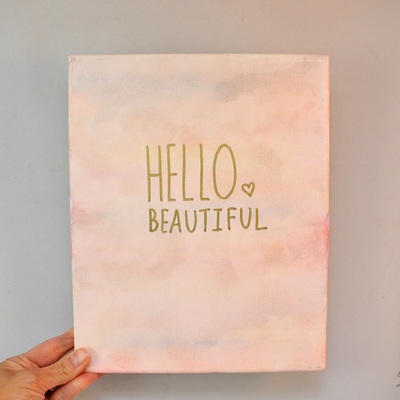 Hello beautiful watercolor marble canvas art
