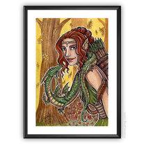 Her Companion - ORIGINAL watercolor medium photo