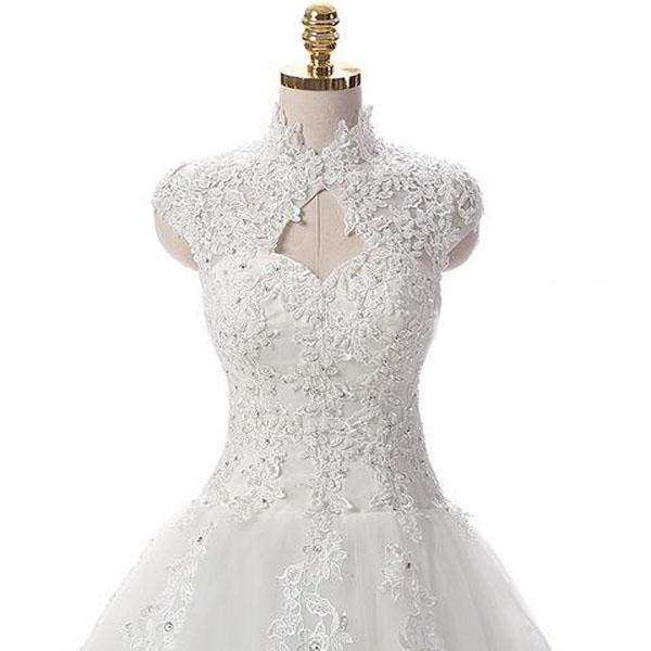 high neck wedding dress cap sleeves wedding dress lace