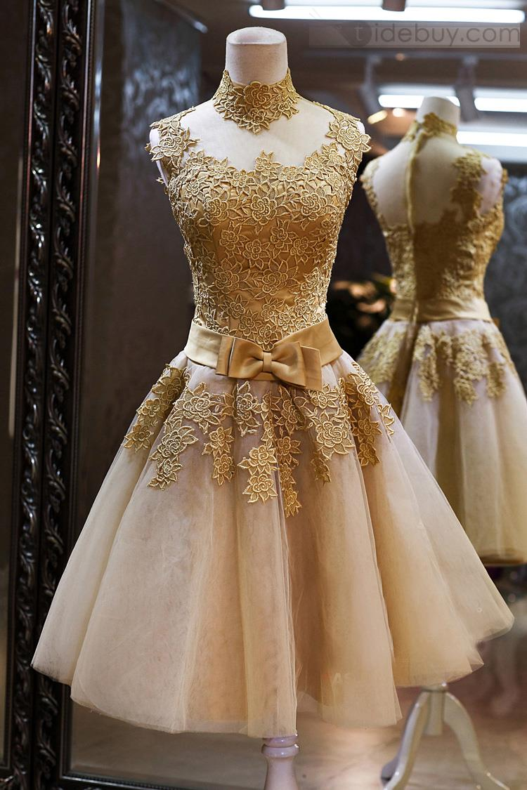 Sparkly High Neck Gold Lace Homecoming Dresses,Gorgeous Cocktail ...