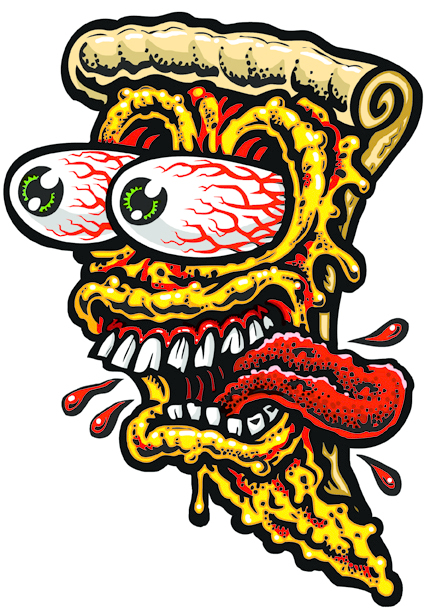 LARGE PIZZA FACE Full Color Shaped Vinyl Sticker Jimbo - Full color vinyl stickers