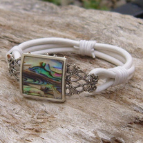 White Leather Bracelet with Silver Filigree and Abalone