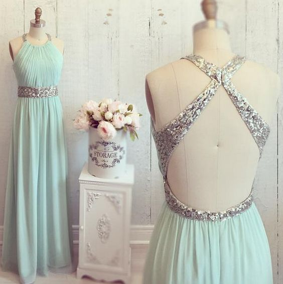 Classy Long Chiffon Backless Prom Dresses,Beading A-line High Low ...