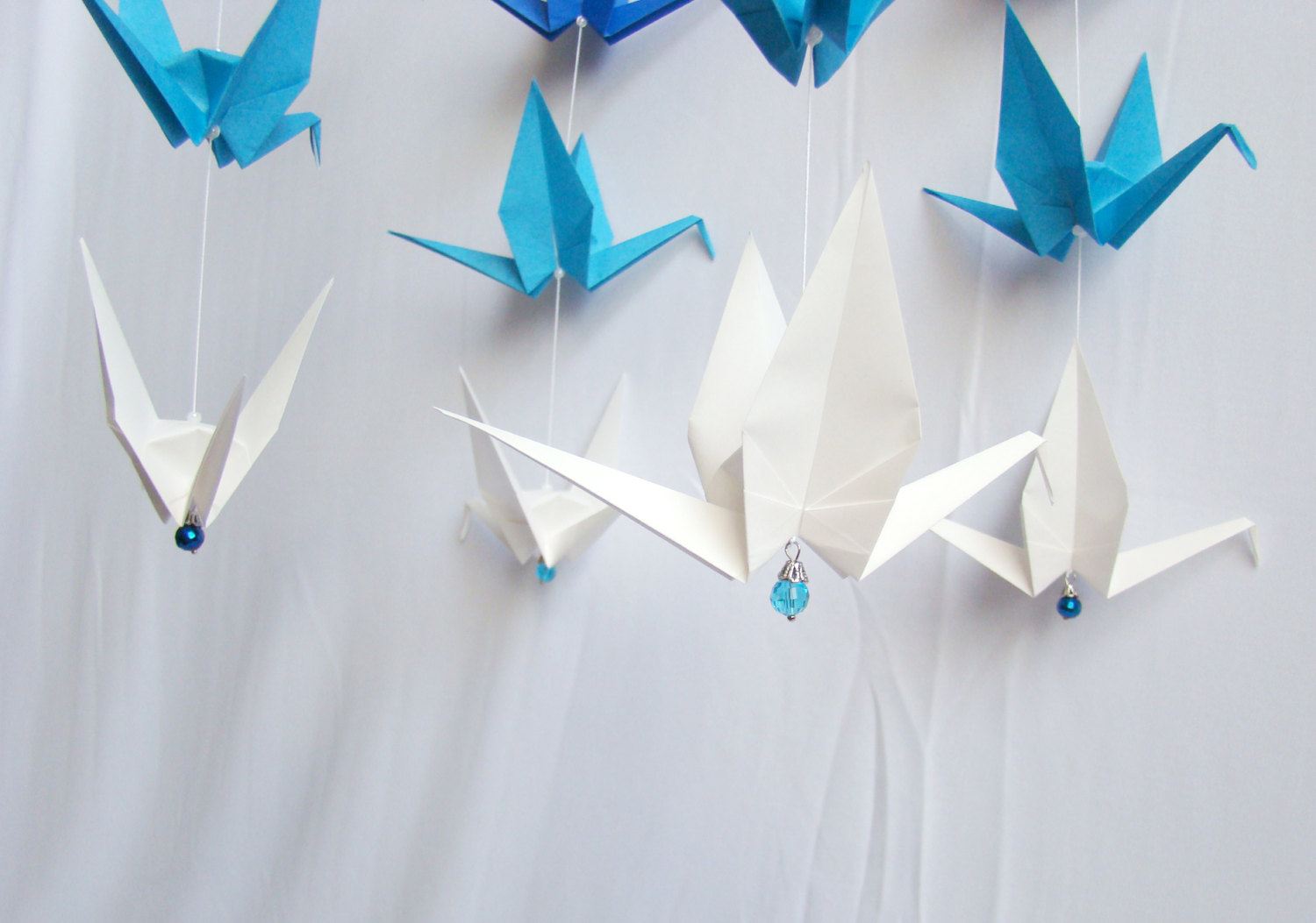 Ready to ship origami crane hanging mobile blue ombre for Origami decorations for your room