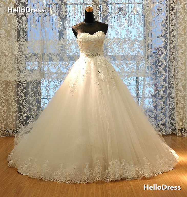 Sweetheart Neckline Princess Wedding Dresses with Rhinestones and ...