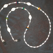Beaded Eyeglass Chain White&Multicolor/Paper-Wrapped Beads