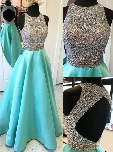 2016 Cap Sleeves Long A-line Teal Prom Dresses Beading Open Back ...