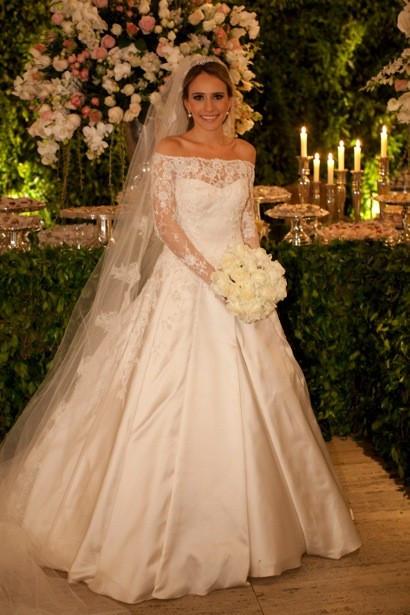 Weddings Long Sleeve Satin Wedding Dress A Line Off Shoulder Real ...