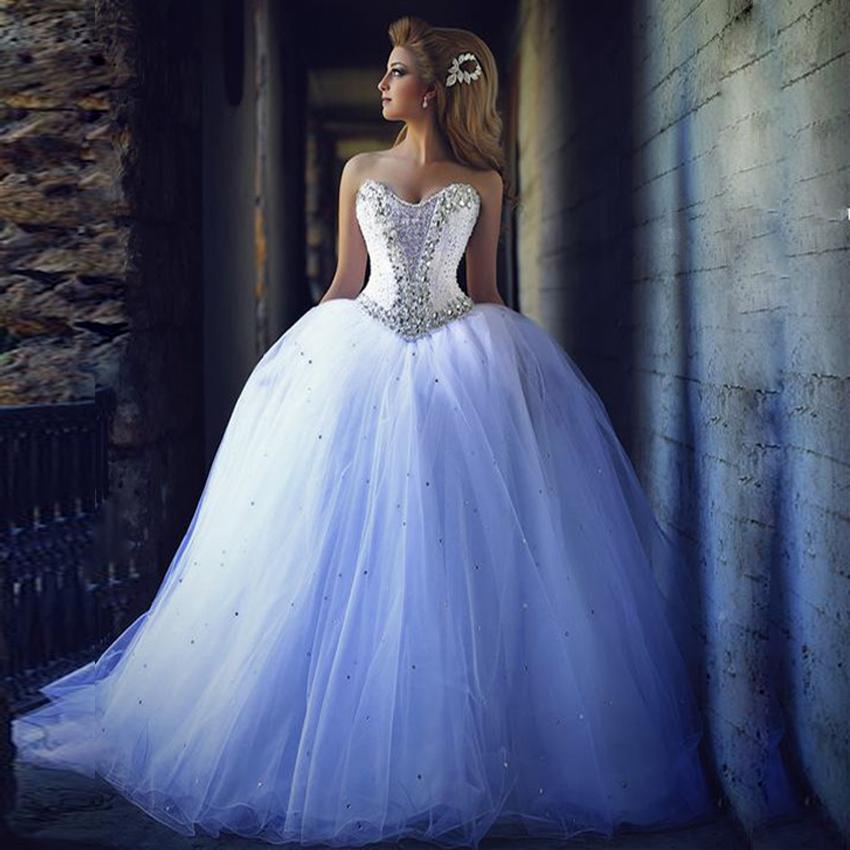 Elegant White Long Ball Gown Wedding Dresses,Sweetheart Crystal ...