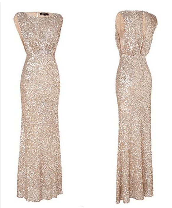 Champagne Beaded Bridesmaid Dress Floor Length · BBDressing · Online ...