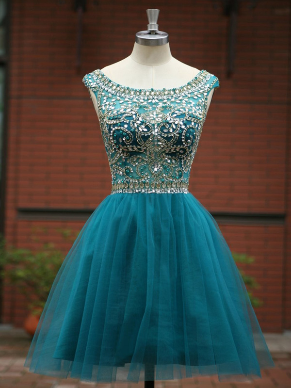 prom dresses short,A-line Scoop Short Mini Tulle Homecoming Dress ...