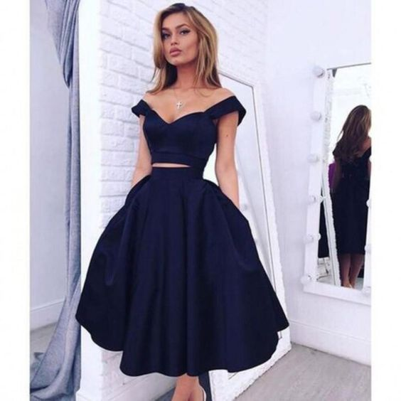Short Black Two Pieces A-line Tea Length Prom Dresses, New Arrive ...