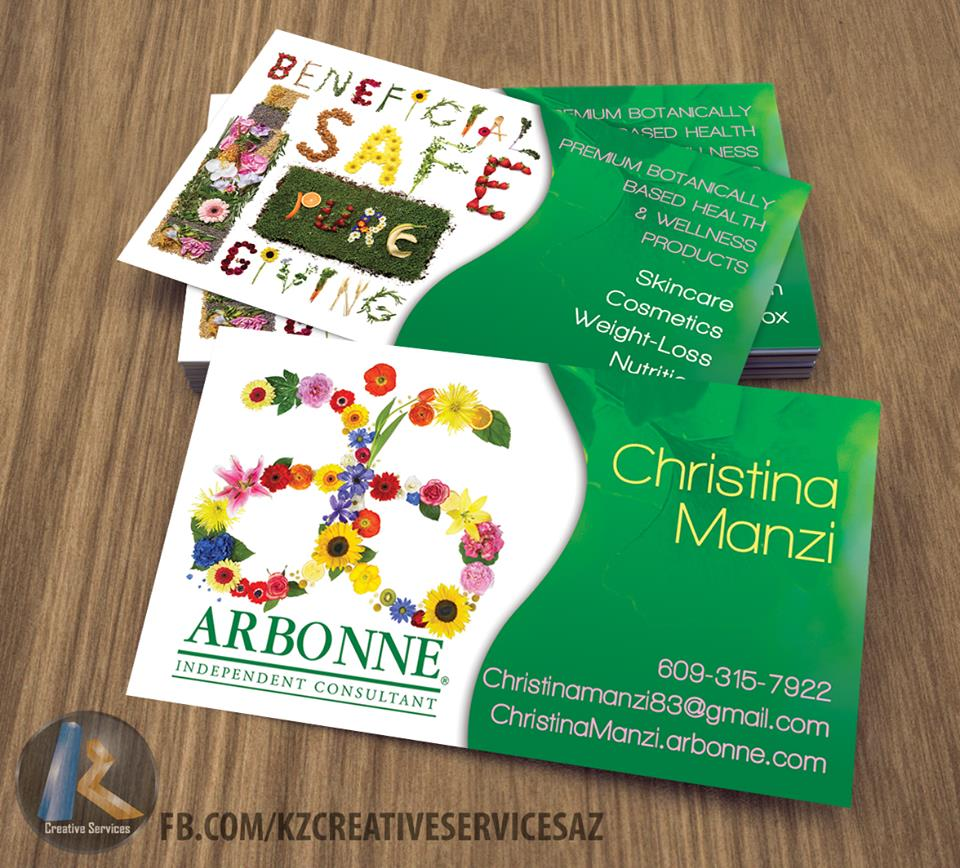 ARBONNE Business Cards style 3 KZ Creative Services Online Store