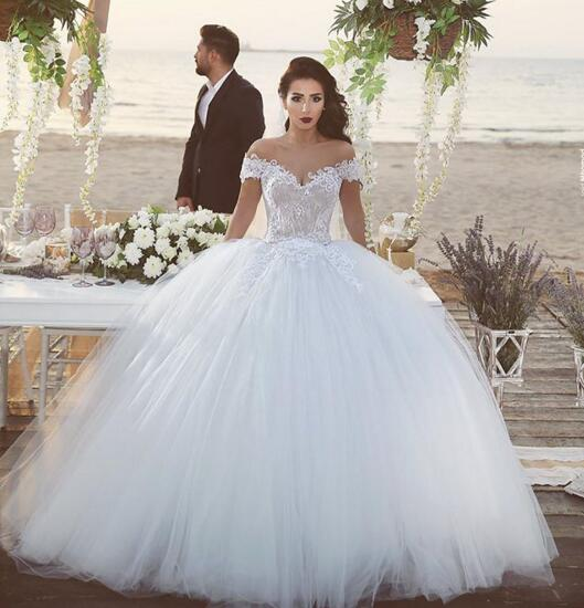 Ball Gown Wedding Dress,Lace Wedding Dress,Off the Shoulder Wedding ...