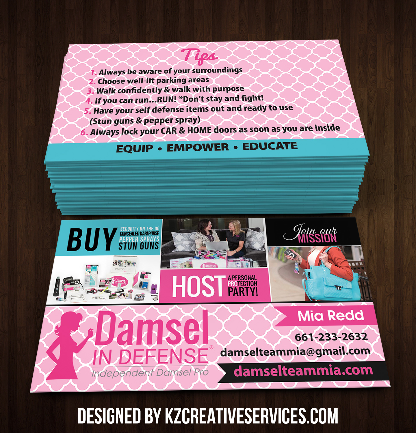 Damsel in Defense Business Cards style 1 · KZ Creative Services
