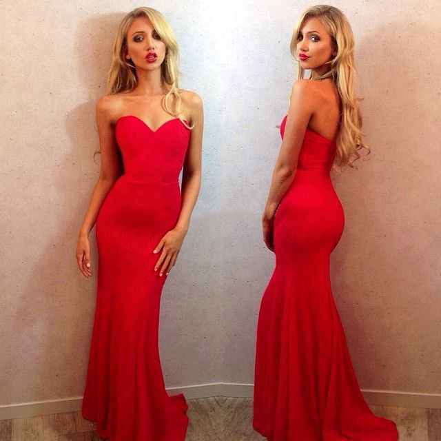 Red Sweetheart Prom Dresses, Simple Mermaid Prom Dress with Sweep ...