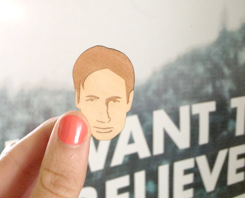 fox mulder wooden brooch