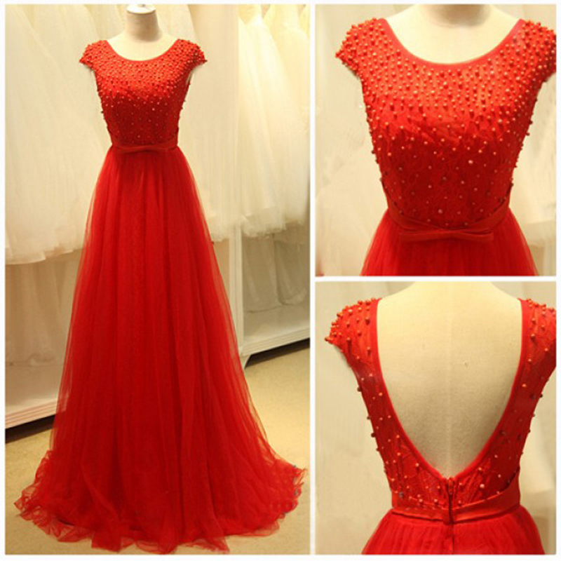 2016 Red Evening Dresses Floor Length Backless Beaded Scoop Prom ...