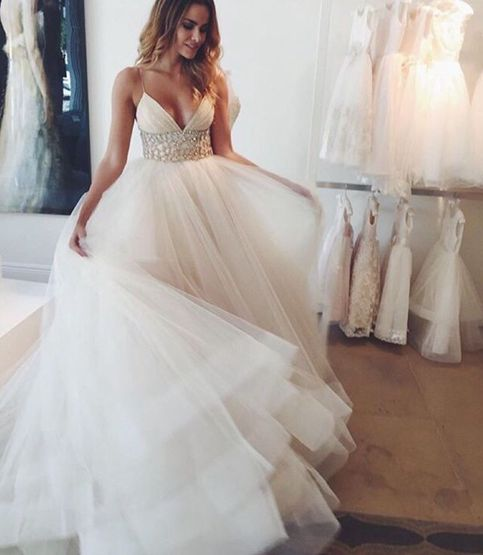 White prom dress,A-line tulle wedding dress,evening dress · Dream ...