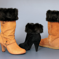 "Black Mink ""Faux Fur"" Boot Topper"